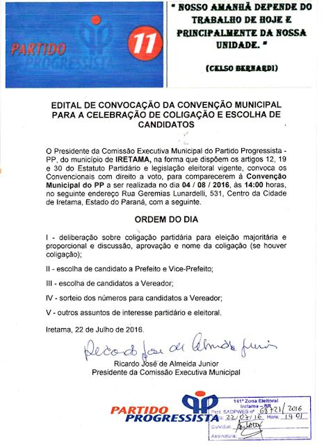 Iretama: PP publica edital da sua Convenção Municipal