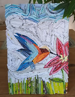 kolibri, schilderij, papierkunst