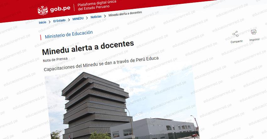 COMUNICADO MINEDU: Alerta a docentes sobre cursos de capacitación