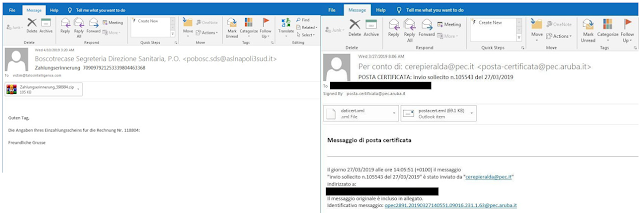 Malspam email samples