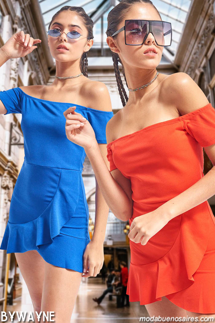 Vestidos cortos de colores verano 2020 juveniles. Moda teens primavera verano 2020. Moda 2020 vestidos juveniles.