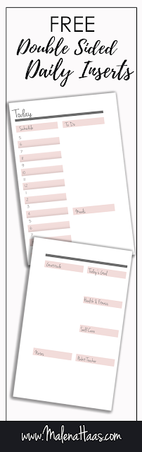 FREE Double Sided Day On Two Pages Printable Insert For Download