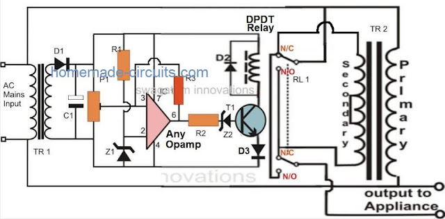 single opamp based home voltage stabilizer circuit