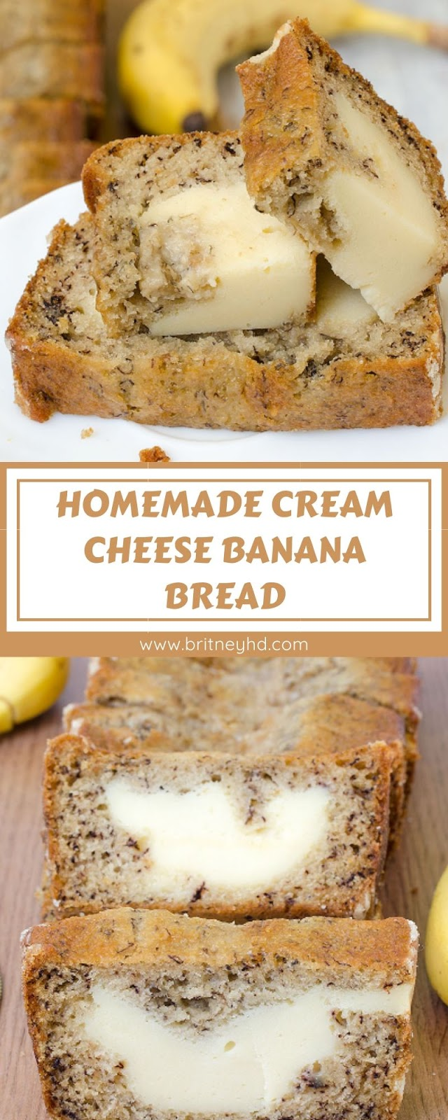 HOMEMADE CREAM CHEESE BANANA BREAD