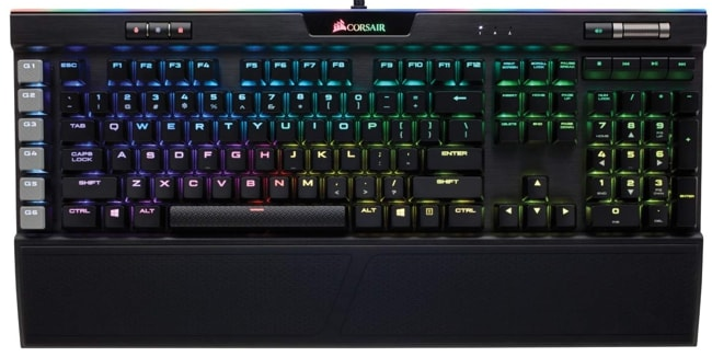 Corsair K95 Mechanical Keyboard with Detachable wrist rest pad for Gaming.
