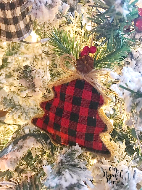 red black check Christmas Tree ornament