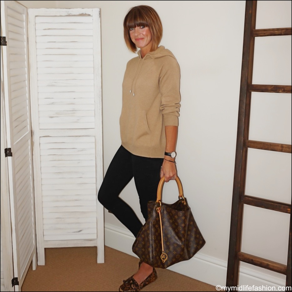 my midlife fashion, marks and Spencer pure cashmere hooded jumper, j crew 8 inch toothpick jeans, Isabel Marant leopard print loafers. Louis Vuitton tote