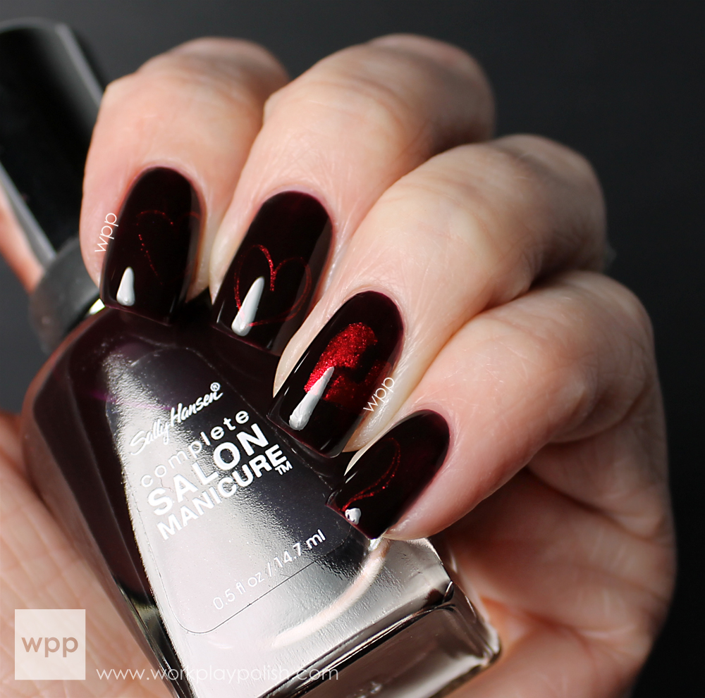 Heartbroken Valentine Mani: Sally Hansen Pat on the Black and a-england Perceval (work / play / polish)