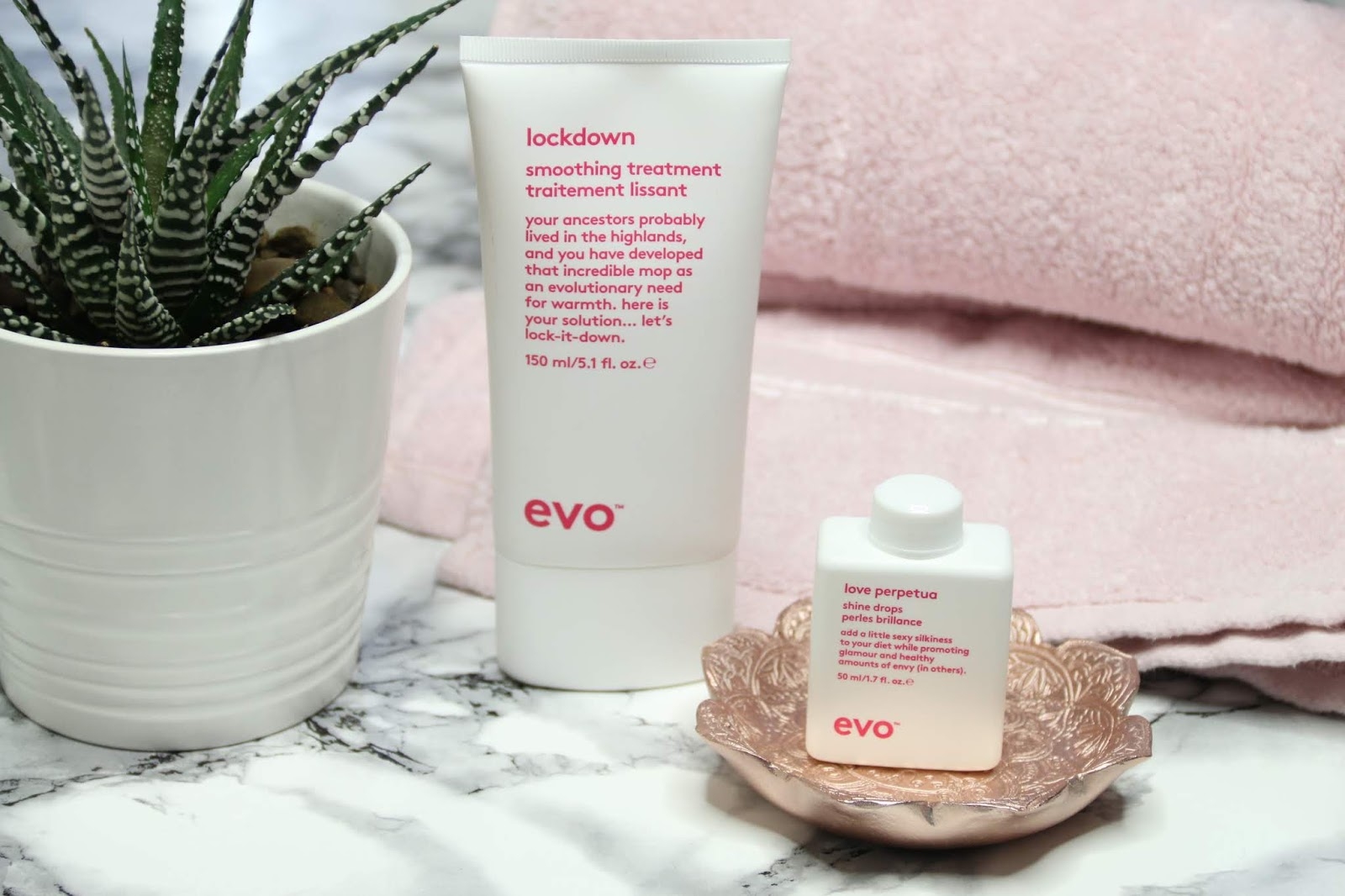 An Image of two Evo Hair haircare products Lockdown and Love Perpetua with a pink towel and succulent on marble