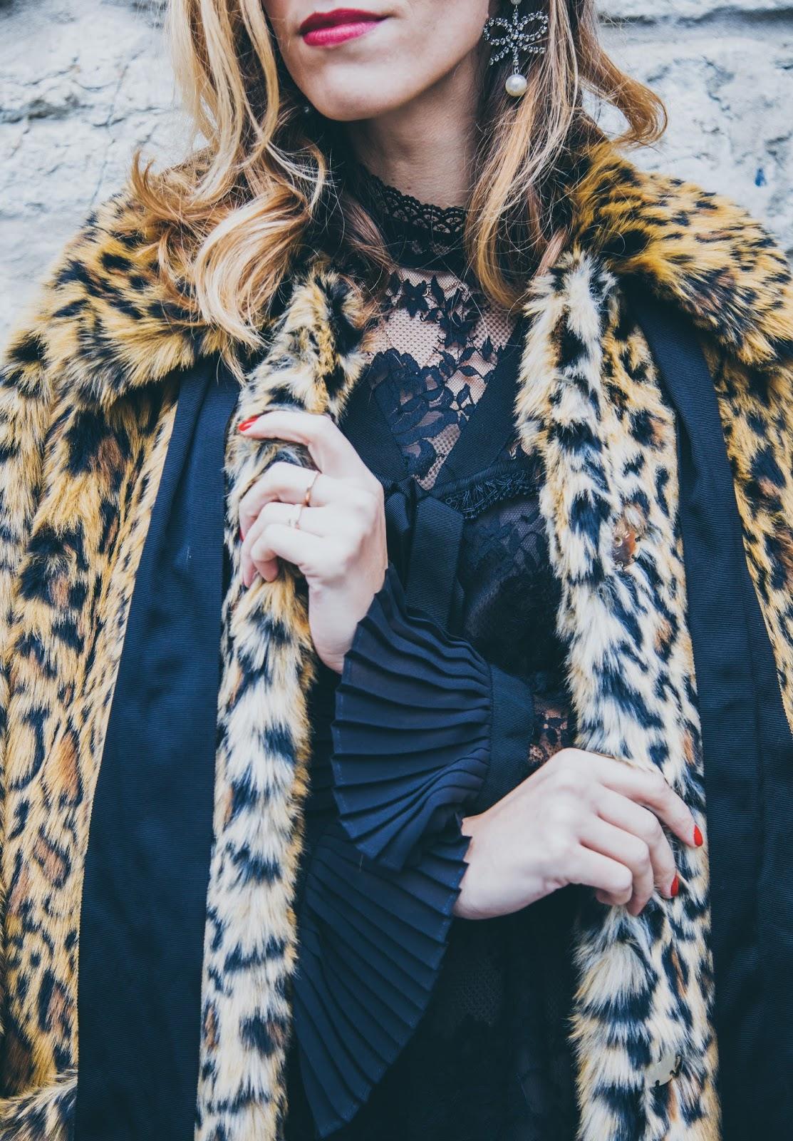 erdem x hm collaboration collection leopard coat earrings