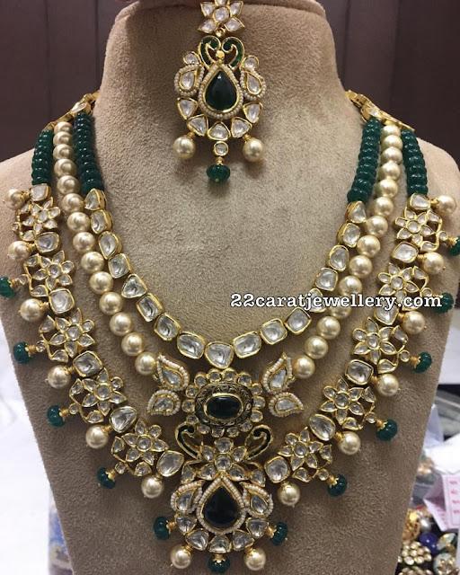 Emerald Beads Two Layer Polki Set