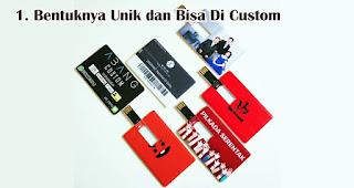 Bentuknya Unik dan Bisa Di Custom merupakan keunggulan flashdisk kartu sebagai souvenir dan merchandise