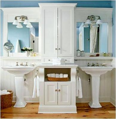 The concept of designer Bathroom Designs Double Pedestal Sinks