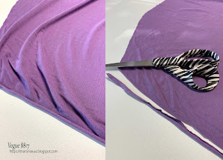 Sewing Tip: cut off selvage on knit fabrics on Sharon Sews blog