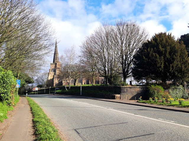 Image shows St Oswald's Church, Winwick, from Newton Road
