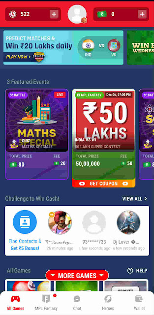 MPL home page for earning