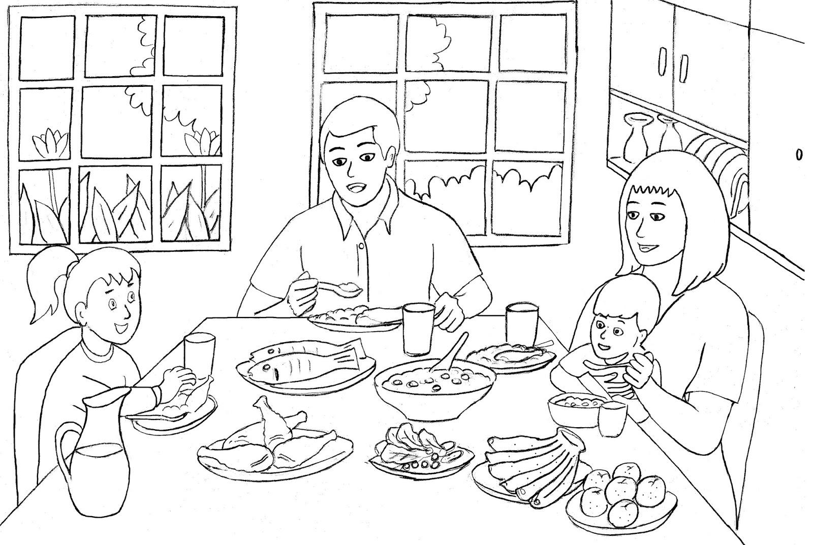Gambar Mewarnai Keluarga Makan Bersama Colouring Family Eating To Her