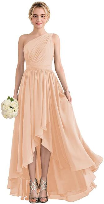 Good Quality Peach Chiffon Bridesmaid Dresses