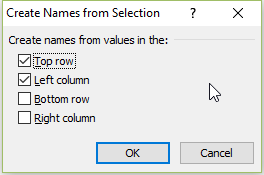 Create Name From Selection Top Row and Left Colulmn