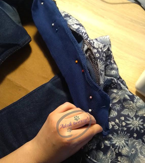 kurtka jeansowa DIY wszywanie kołnierza