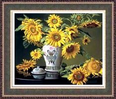 Слънчогледи в китайска ваза