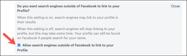قم بإلغاء تحديد إعداد محرك البحث على Facebook