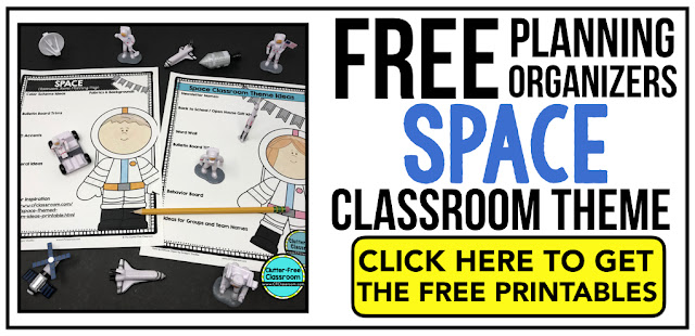 SPACE Theme Classroom: If you're an elementary teacher who is thinking about a space, astronaut, galaxy, outer space, universe, solar system theme then this classroom decor blog post is for you. It'll make decorating for back to school fun and easy. It's full of photos, tips, ideas, and free printables to plan and organize how you will set up your classroom and decorate your bulletin boards for the first day of school and beyond.
