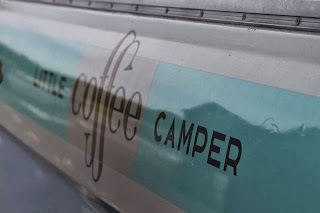 The sign on the Little Coffee Camper - the mobile coffee van in Essex