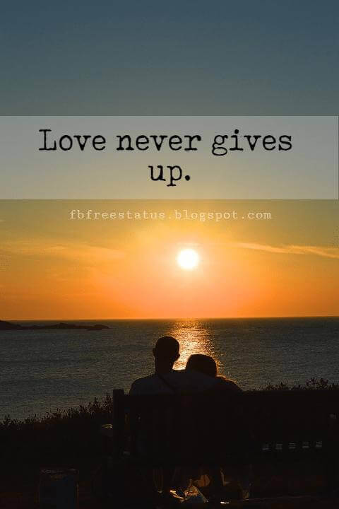 Cute Valentines Day Quotes, Love never gives up.