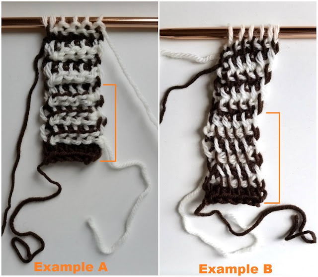 "A collage of two photographs side by side. Each is a striped sample of tricot. Each one has orange lines drawn at the right of the sample to indicate the bottom section of simple stitch'. There are headings across the bottom edges of each photo in orange lettering reading ""Example A"" (at left) and ""Example B"" (at right). Each sample is still on the orange coloured hook which appears horizontally above the samples."