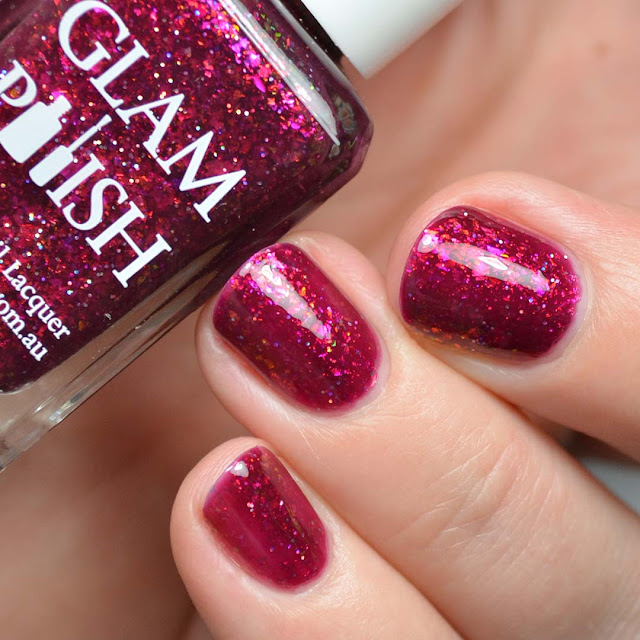 plum jelly nail polish with flakies