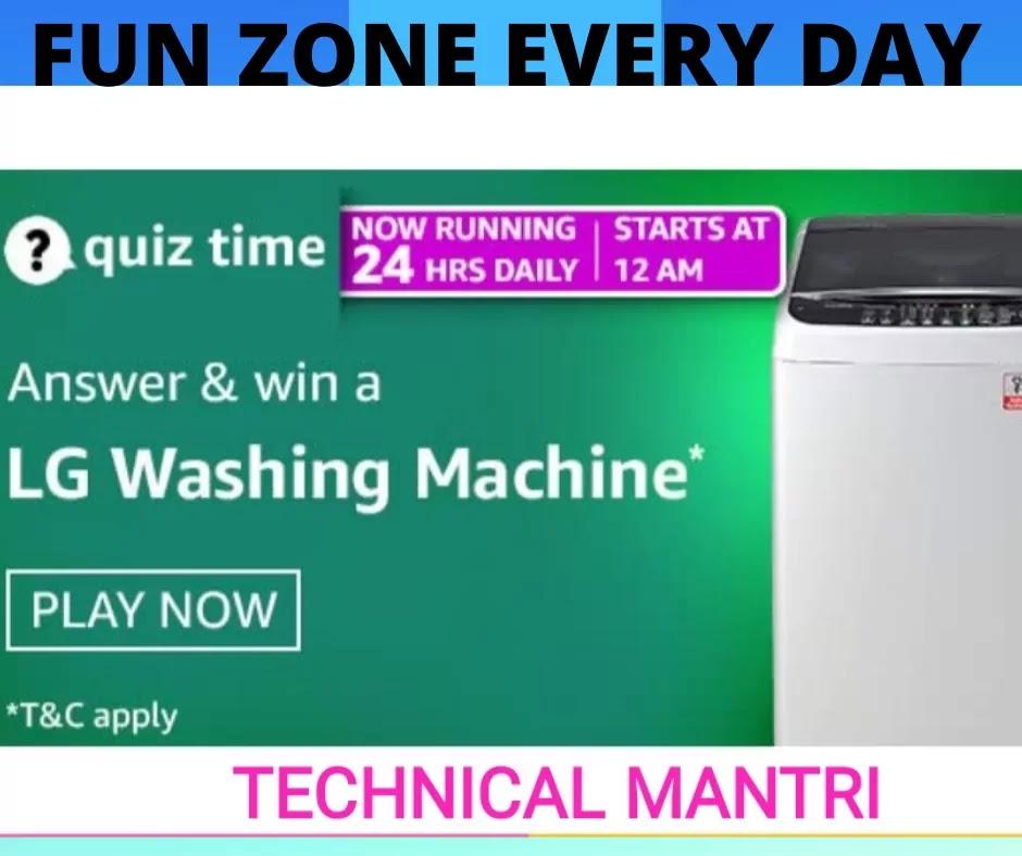 Amazon Quiz Answers For 29th April 2021 win Lg Washing machine