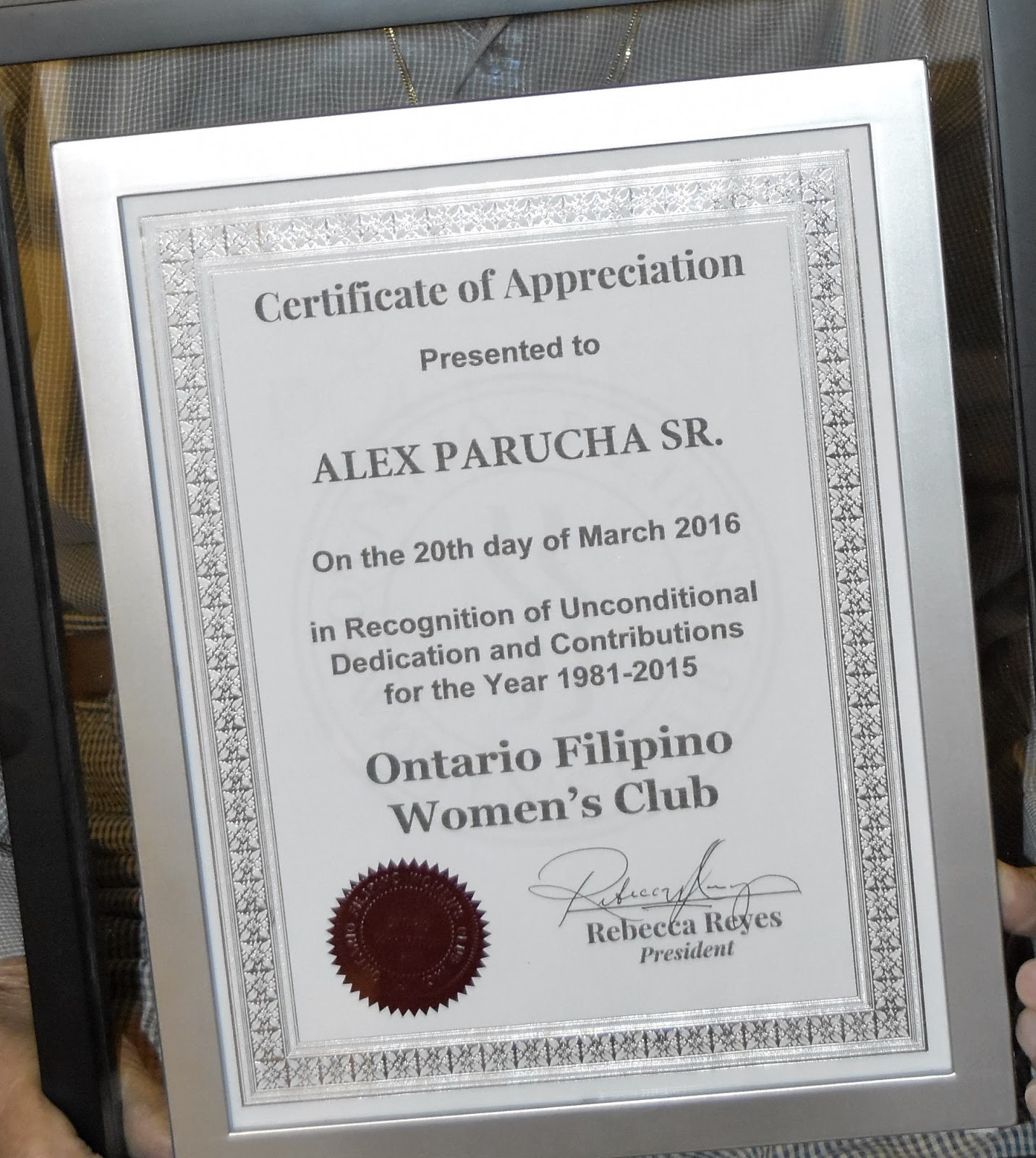 Ontario filipino womens club starting the year 2016 in certificate signed on 20 march 2016 by rebecca reyes ofwc president yadclub Gallery
