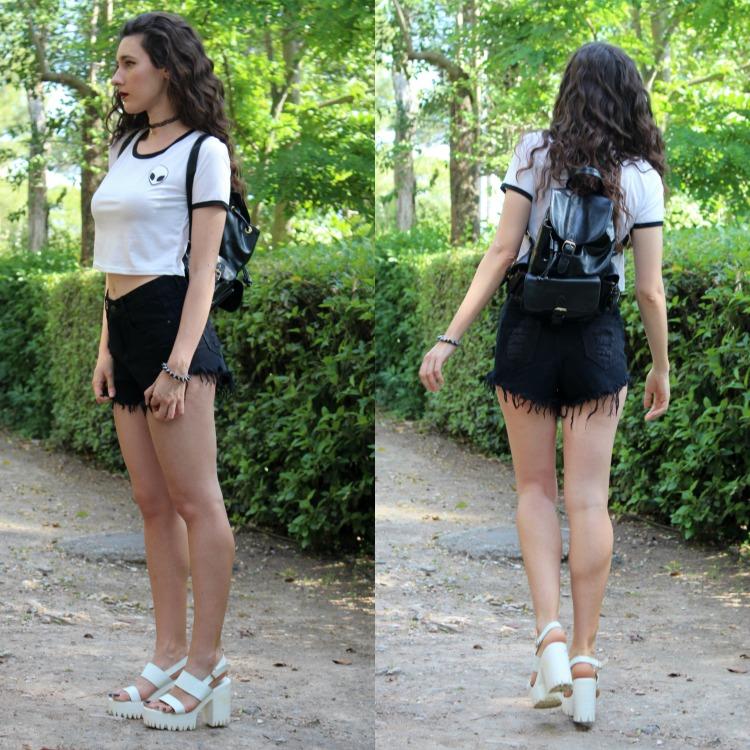 alien, alien t-shirt, black shorts, platforms, grunge, tumblr