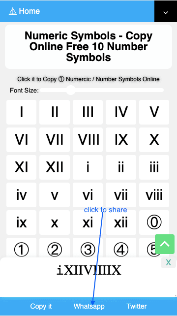 How to Share Ⅱ Number Symbols On Whatsapp?