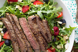 Strawberry Arugula Salad with Steak & Balsamic Vinaigrette