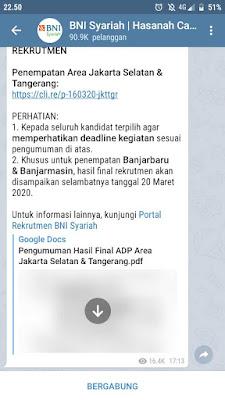 cara join Channel Telegram BNI Syariah