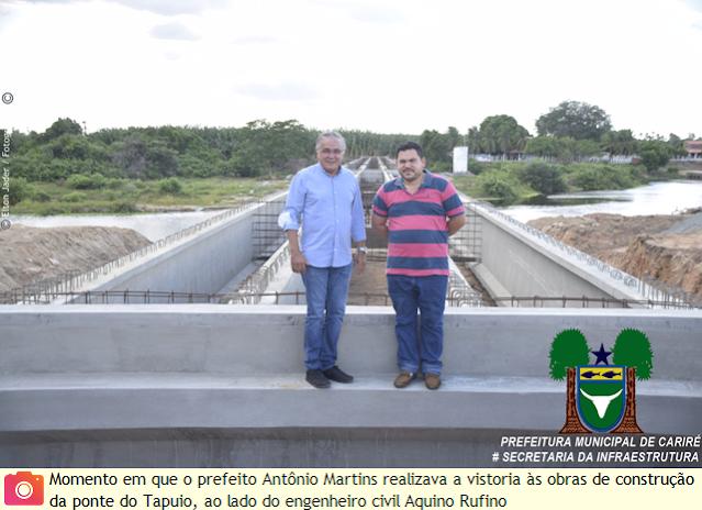 Prefeito Antônio Martins realiza vistoria às obras de construção da nova ponte do Tapuio, que já é uma realidade e terá melhor acesso e iluminação