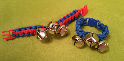 Parachute Cord Jingle Bell Bracelets. DIYat Hands On Crafts for Kids.