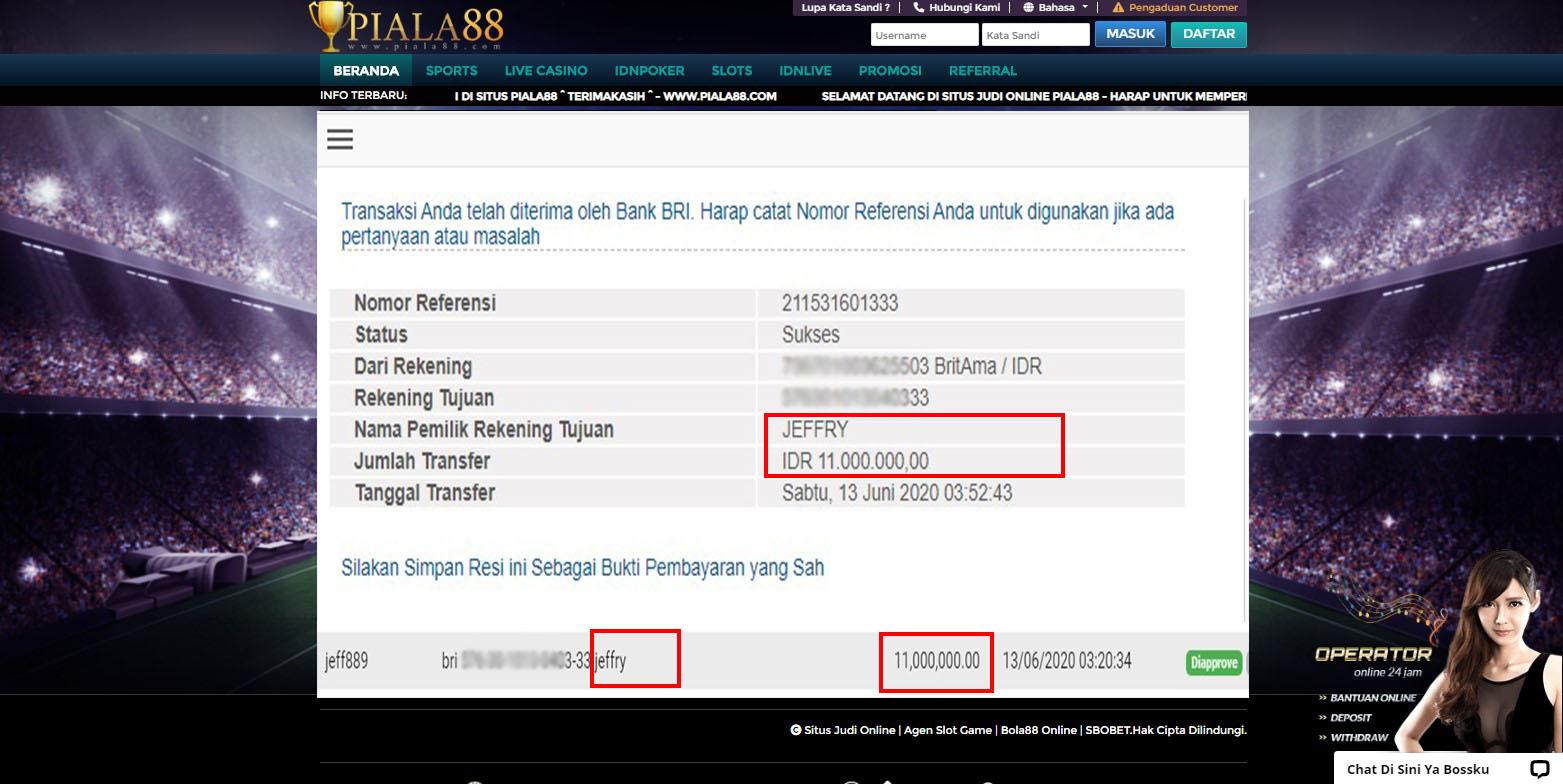 Selamat Kepada Member Setia PIALA88 Withdraw RP 11.000.000