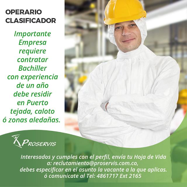 Empleo en PUERTO TEJADA como OPERARIO CLASIFICADOR