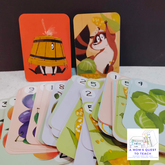 Game cards from Clumsy Thief Junior with A Mom's Quest to Teach Logo