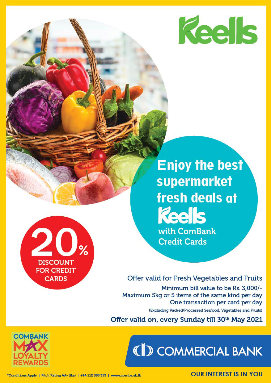 Upto 20% OFF fresh deals at Keells with ComBank Credit Cards