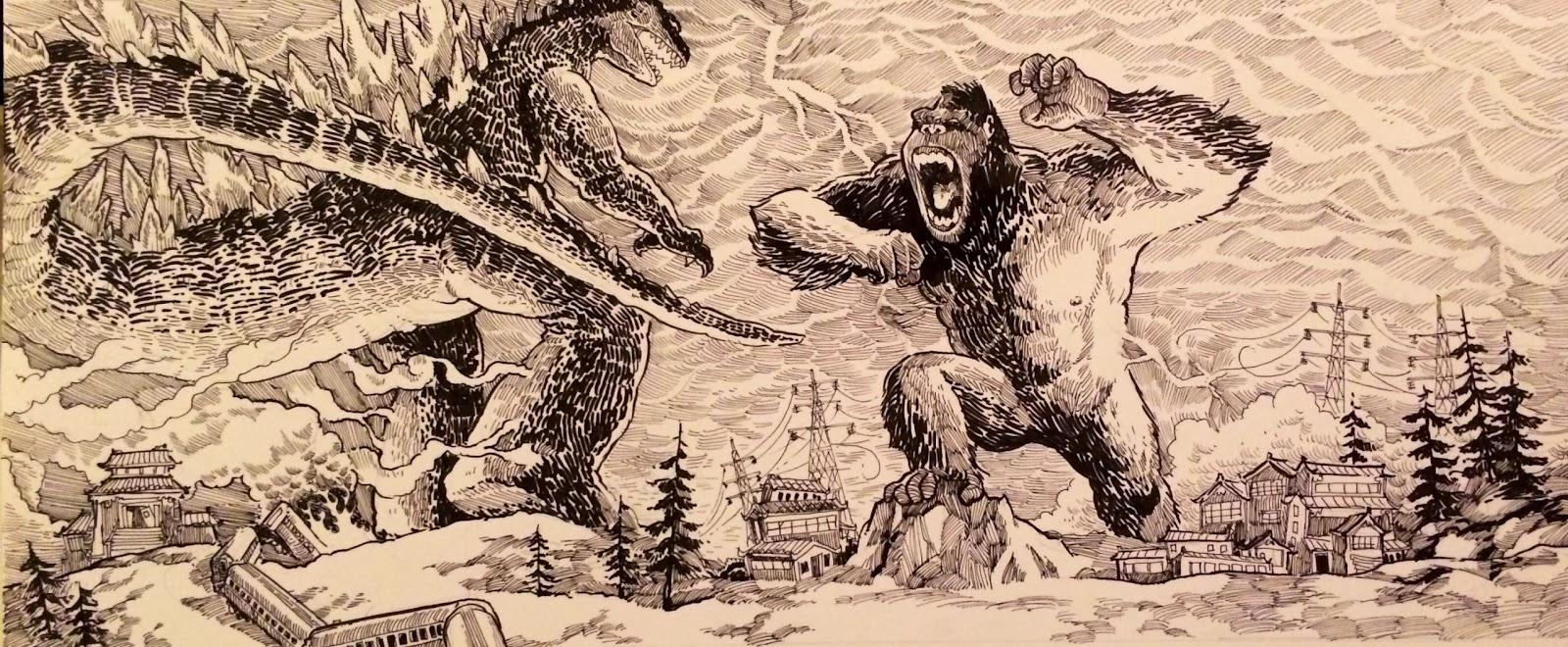 charlie layton draws godzilla vs king kong
