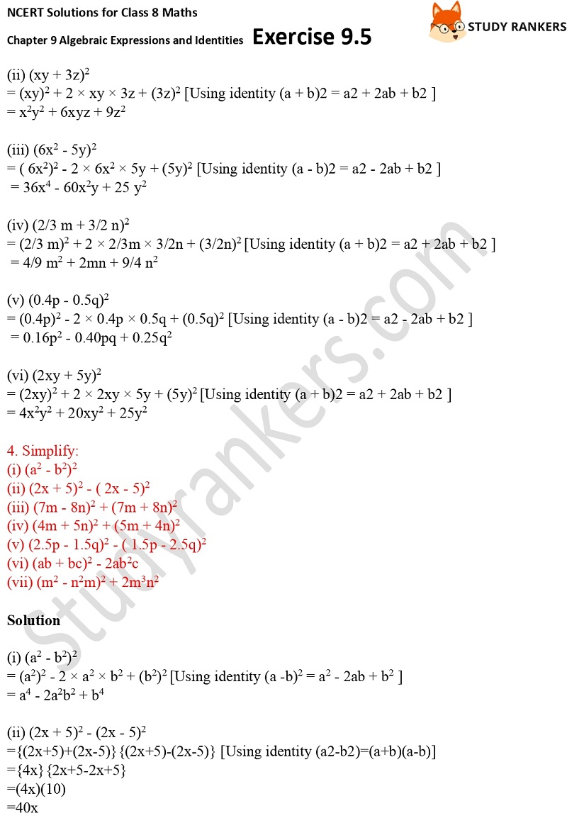 NCERT Solutions for Class 8 Maths Ch 9 Algebraic Expressions and Identities Exercise 9.5 4
