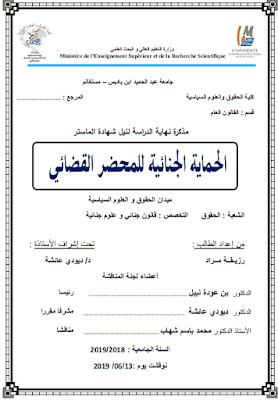 مذكرة ماستر: الحماية الجنائية للمحضر القضائي PDF