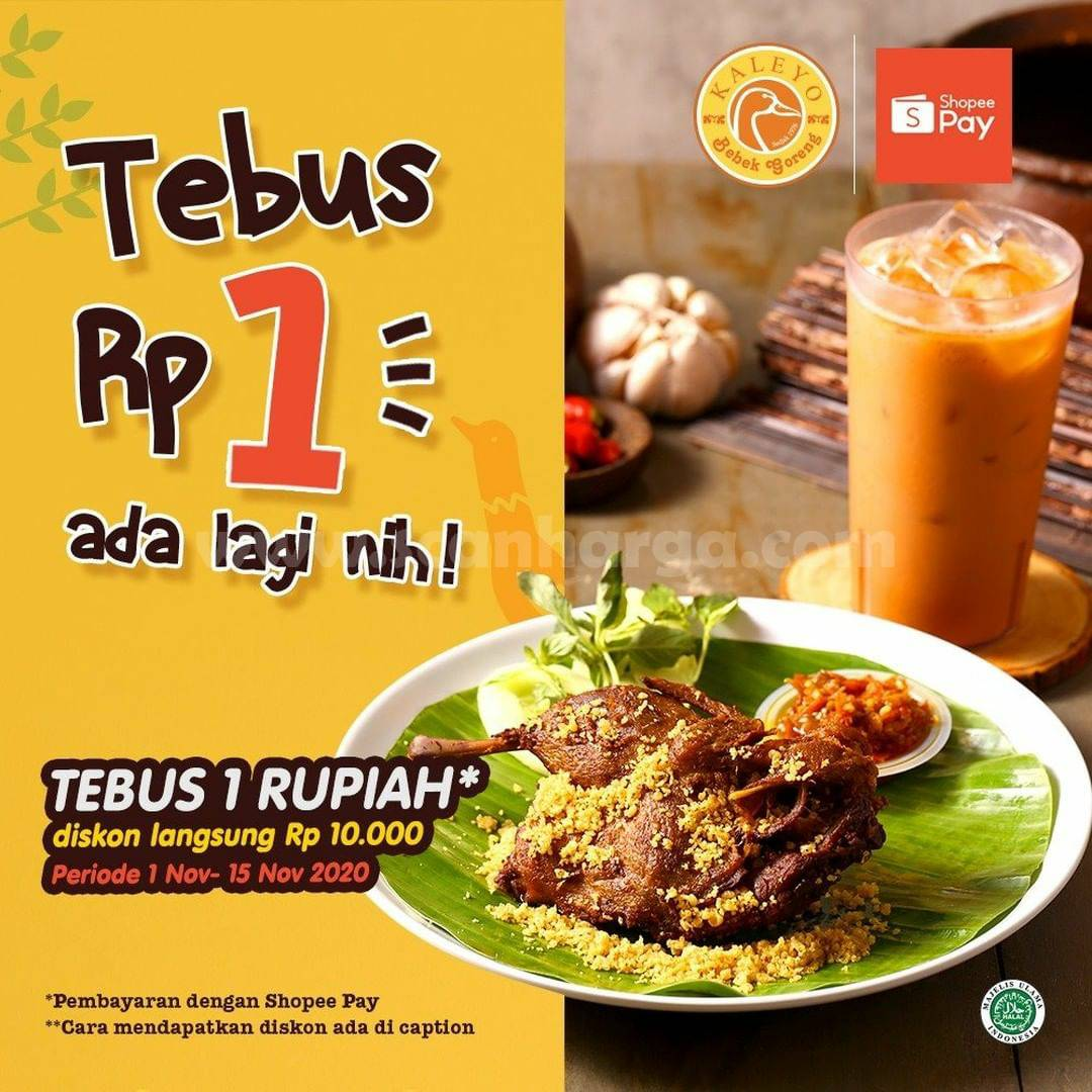 Promo Bebek Kaleyo TEBUS Rp. 1,- bayar pakai Shopeepay
