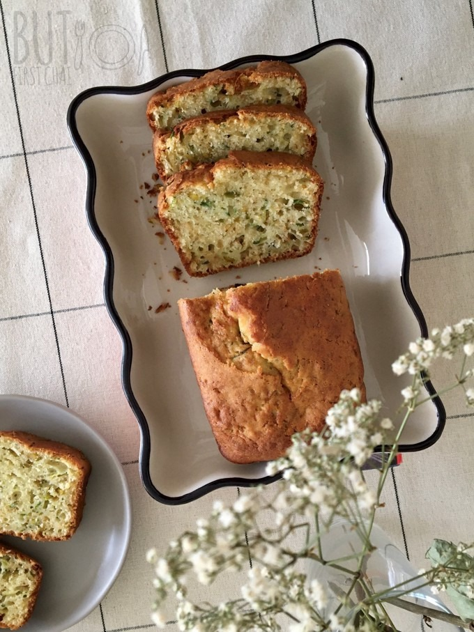 Zucchini Quick Bread with sugar top shot of sliced load