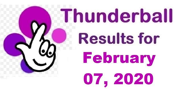 Thunderball Results for Friday, February 07, 2020
