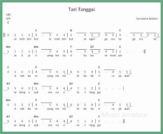 not angka lagu tari tanggai lagu daerah sumatera selatan